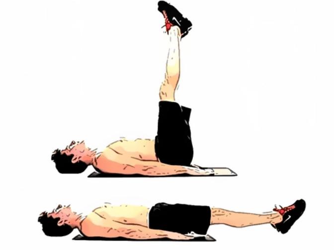 Пресс нижний: лежа на спине поднятие ног верх